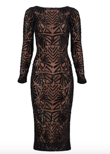 Black Emery Dress by Dress The Population, rental $45