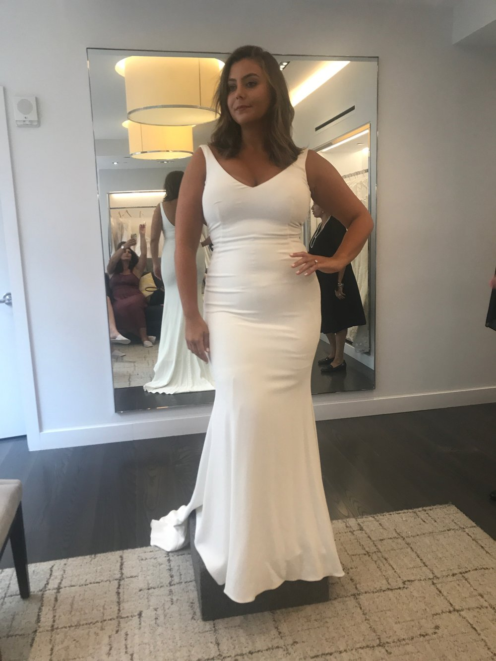 "August 2017 - the day i said ""yes!"" I am wearing a sample size 8, i purchased a size 16"