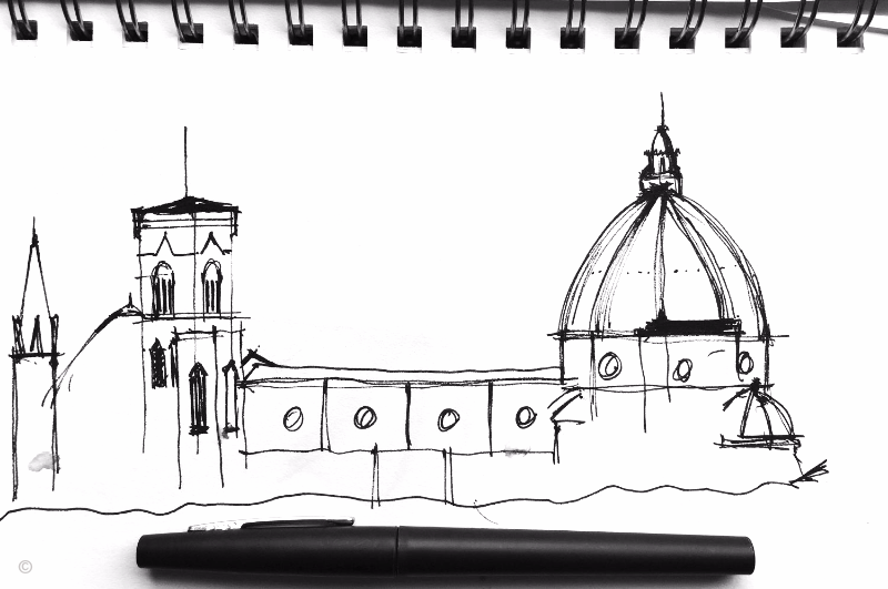 Pen and Ink Sketch - Il Duomo di Firenze, Italy