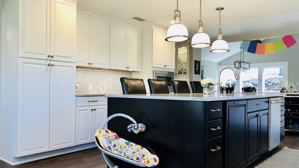 White and Black Kitchen Cabinets