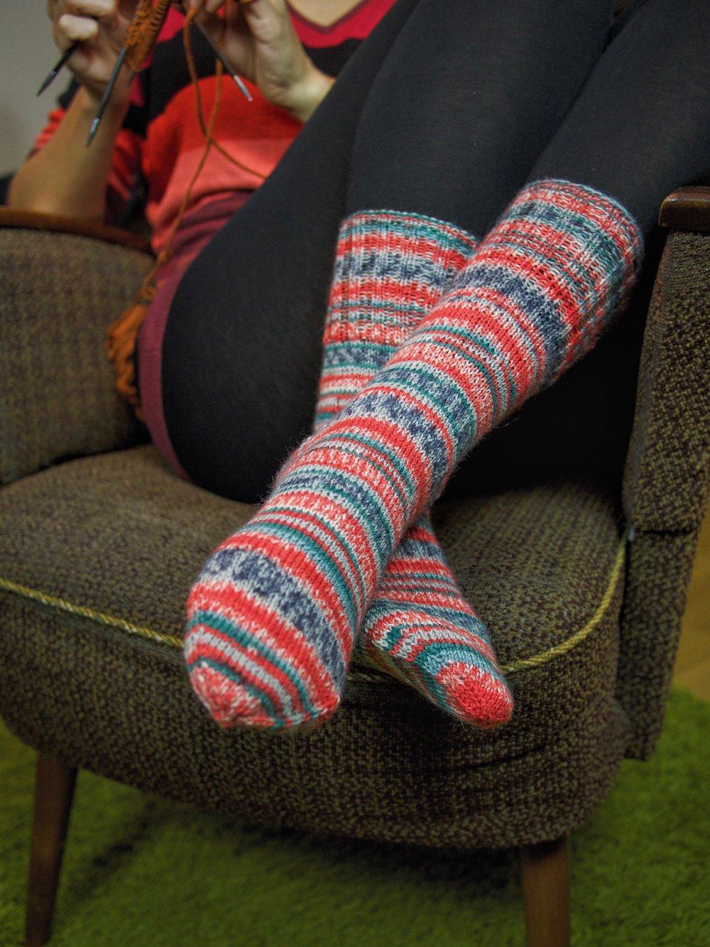 Ich habe mich sofort in meine schönen Socken verliebt. Der Farbverlauf ist einfach genial