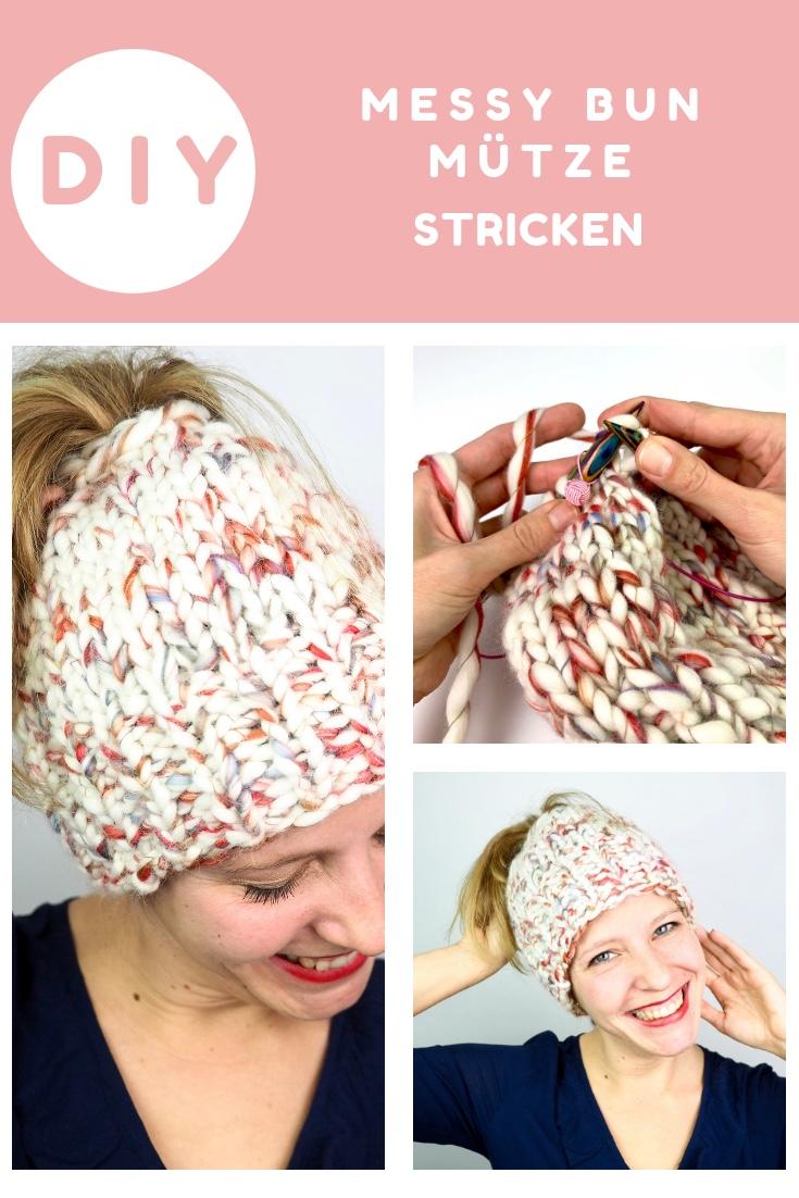 Mütze stricken für deinen Messy Bun oder Pferdeschwanz, Anfänger geeignet
