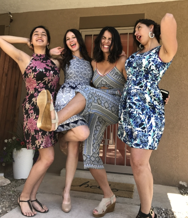 Prima Power. My primas, sister, and I getting ready to go kill it on the dance floor at my cousin's wedding