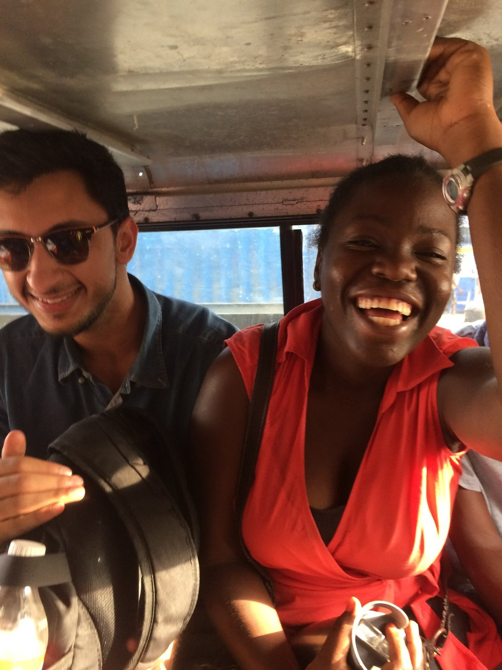 Rohail, and our translator/program manager Stephana, probably laughing because Rohail fell asleep AGAIN on the tap-tap (local transportation)