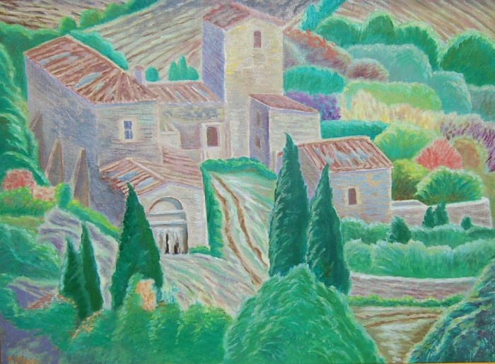 "One of my Aba's Paintings of the Umbrian landscape called ""Casa Colonica"" 2003."