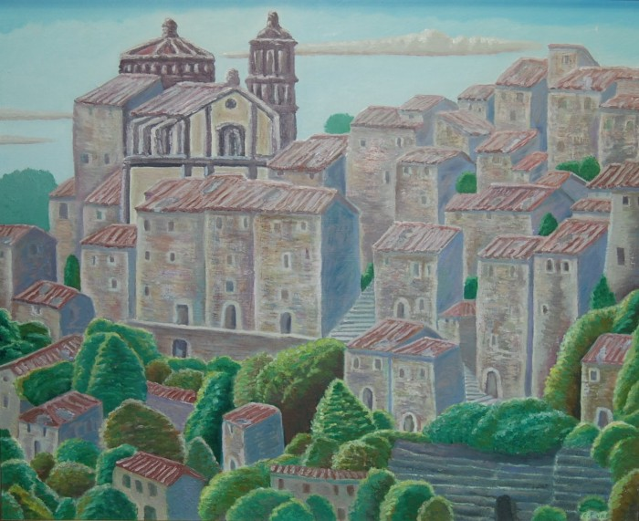 "My Aba (Charles Furr) painted this. Called ""Umbrian Hill"" (2003)"