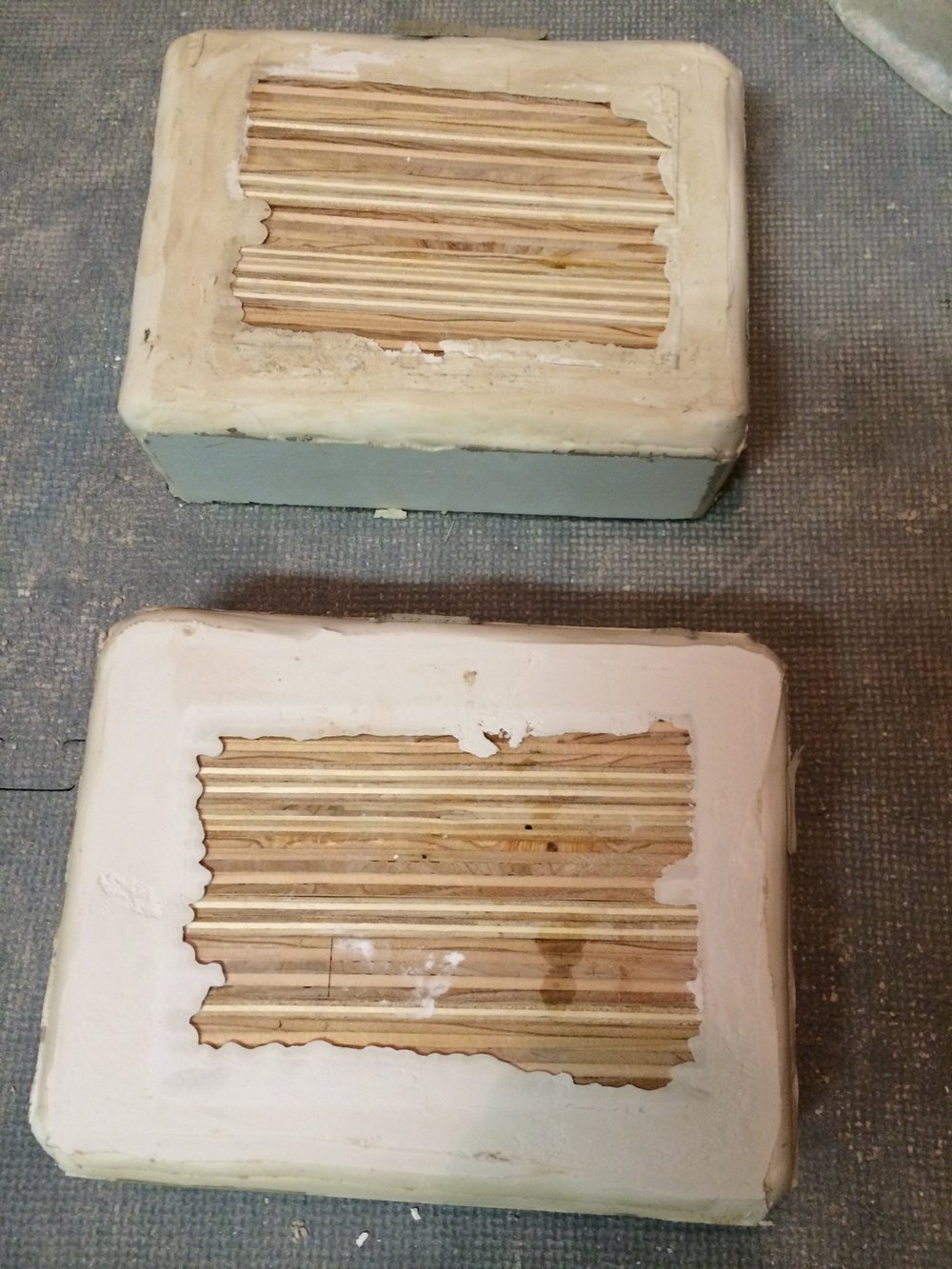 Two molds with the wooden positives still in them. Turns out it was not easy to get the positives out...