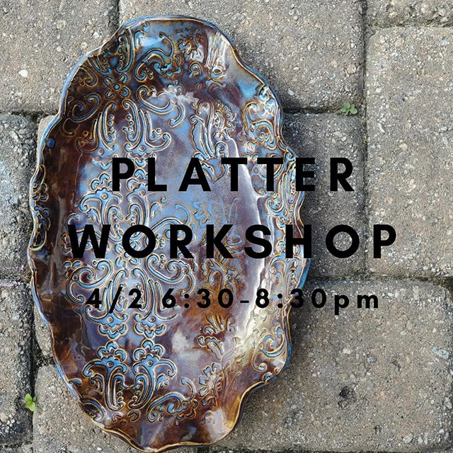 """Want to add a little pizzaz to your table. Join us for the PLATTER WORKSHOP on 4/2. And when your friends say, """"You made that?!"""" You can say """"Why yes, yes I did."""" #thriveclaystudio #lakeviewlife #pepperplace #happeninsintheham #birminghamal #birmingham.Al.Local #bhamnow"""