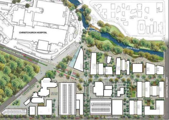A draft concept of Christchurch's Health Precinct, August 2014