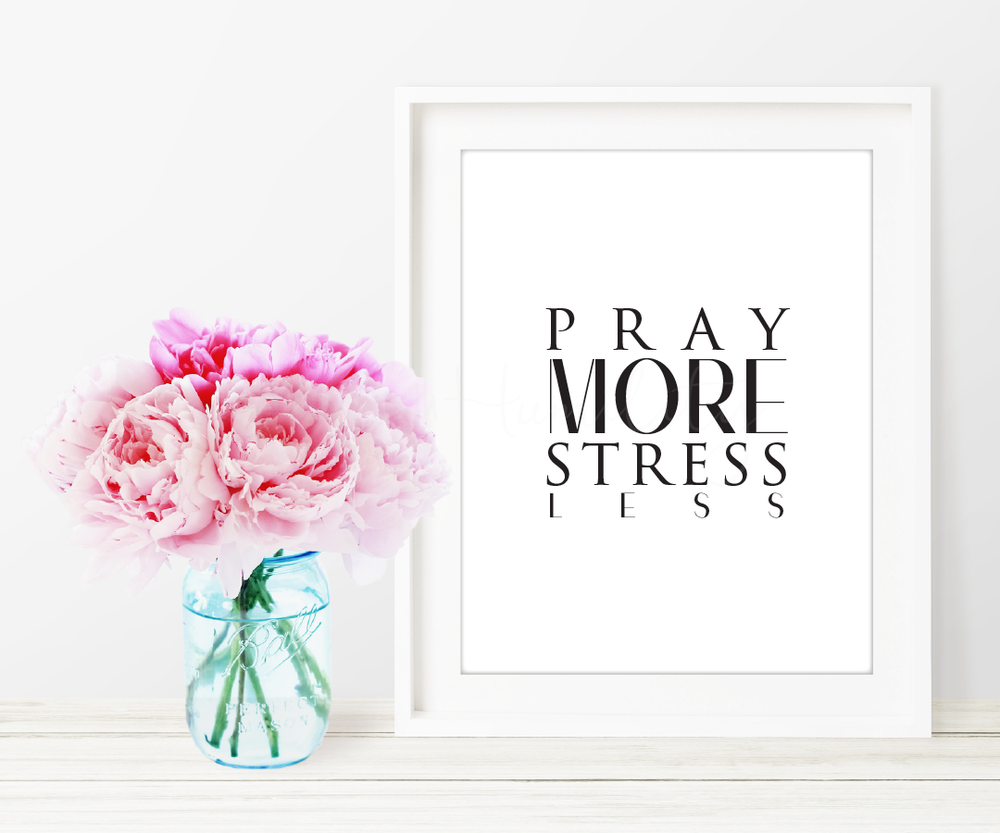 "Pray More Stress Less Printable Art   ""Pray more, stress less.""     *You will not receive a physical product.   **Picture frame not included  *** Not for Resale    ****Free to download    File Specifications   (1) Downloadable  PDF  printable  US Letter size 8x10in  Prints in high quality 300dpi (actual color may vary due to the calibration of your screen)"