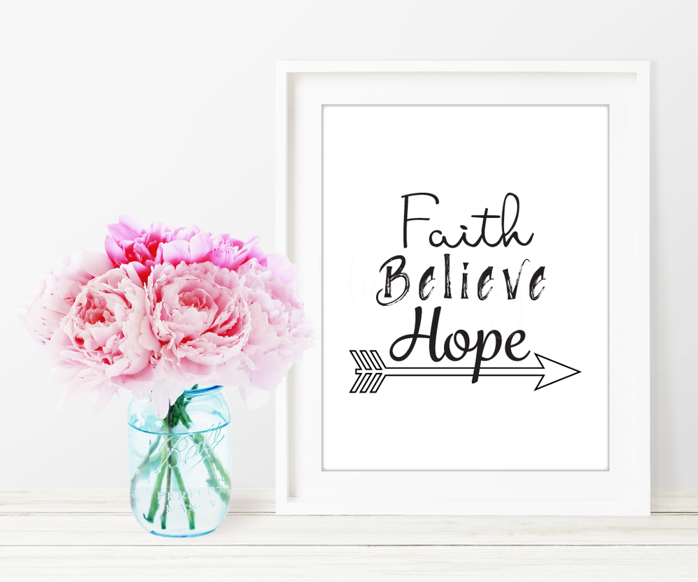 "Faith Believe Hope Printable Art   ""Faith, Believe Hope.""      *You will not receive a physical product.   **Picture frame not included  *** Not for Resale    ****Free to download    File Specifications   (1) Downloadable  PDF  printable  US Letter size 8x10in  Prints in high quality 300dpi (actual color may vary due to the calibration of your screen)"