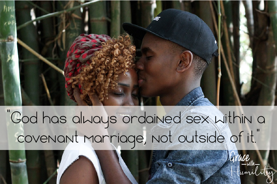 "Quote:  ""God has always ordained sex within a covenant marriage, not outside of it."" – www.gracewithhumility.com"