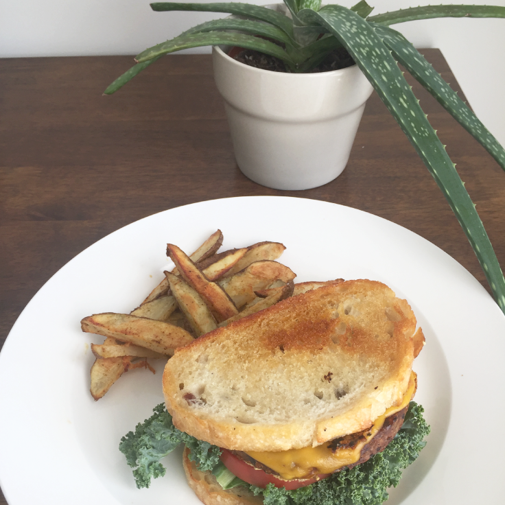 Vegan cheeseburger on sourdough bread – www.gracewithhumility.com
