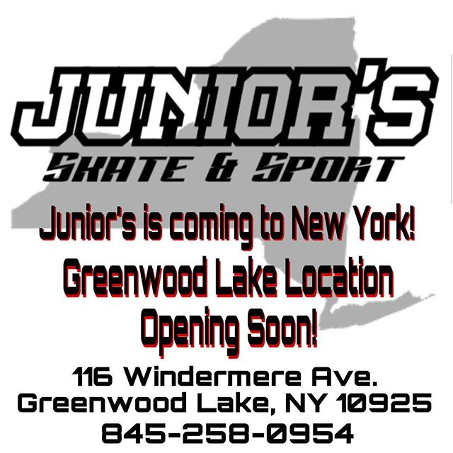 We're coming to New York! Greenwood Lake Location opening soon, stay tuned for details! #nofilter#gwlskatepark #doitfordale  #onestopsportshop #onestopshop #wegotitall #bestpricesaround #justgonnasendit #letsgoskate #skateshop #skaters #njskaters #nyskaters #skatepark #skatecommunity #bmx #skateparts #njskateshop #njskateboarding #supportyourlocalskateshop #supportyourlocalskatepark #supportyourlocalskaters #supportyourlocalskatescene #juniors_skateandsport