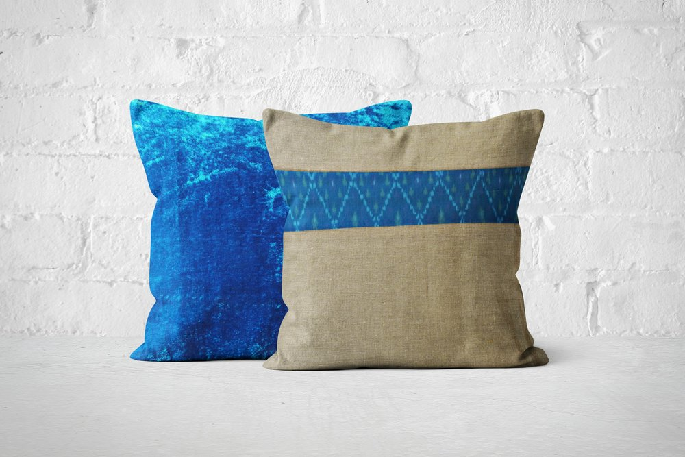 Light Teal Velvet with blue Ikat gift set.jpg