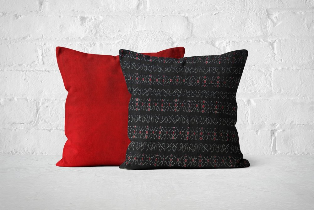 Red Velvet & Black quilted Ikat gift set.jpg