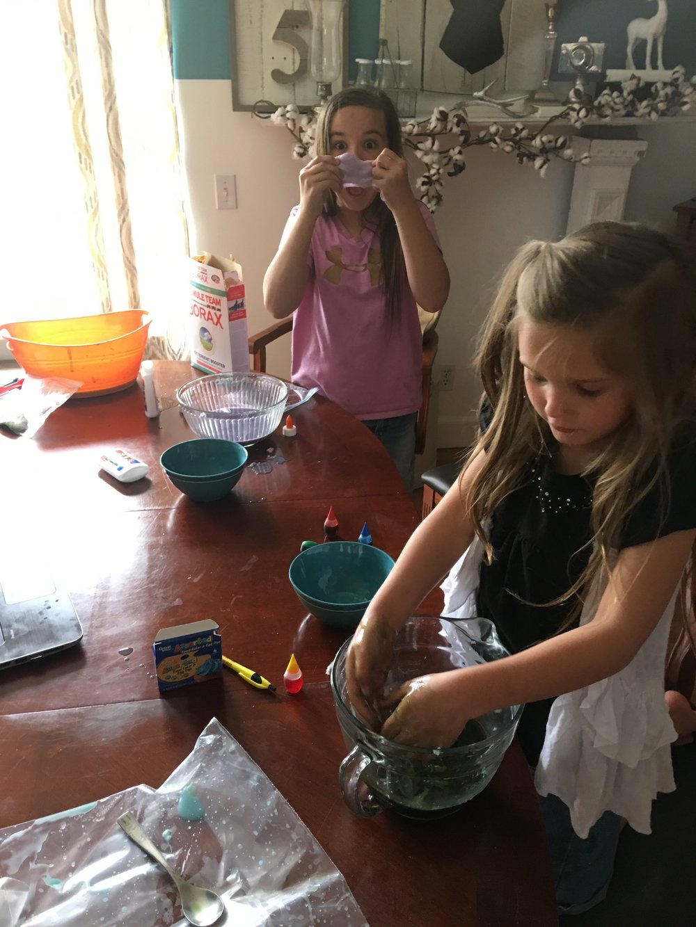 Slime making......such a mess!!!! {insert eye roll here}.