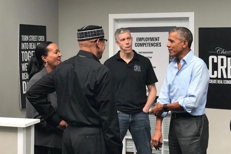 From left to right, Youth Peace Center Executive Director Wendy Jones, Youth Peace Center Director of Operations Rogers Jones, Secretary Arne Duncan, and President Obama.