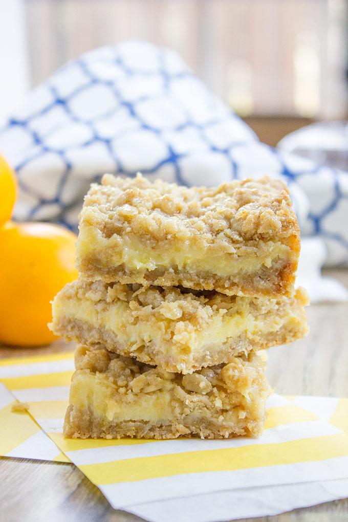 Creamy Lemon Crumb Bars via Dessert Then Dinner