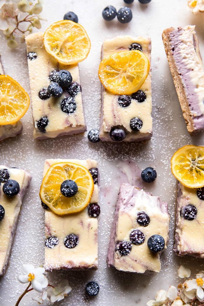 Blueberry Lemon Cheesecake Bars via Half Baked Harvest