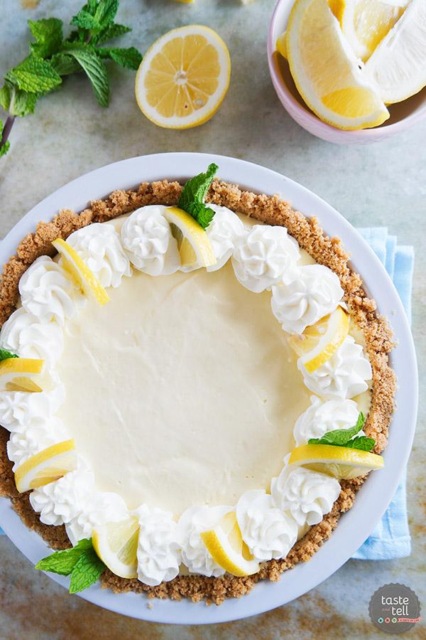 Lemon Cream Pie via Taste and Tell Blog