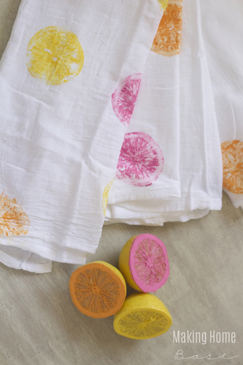Making Home Base - DIY Painted Citrus Tea Towel