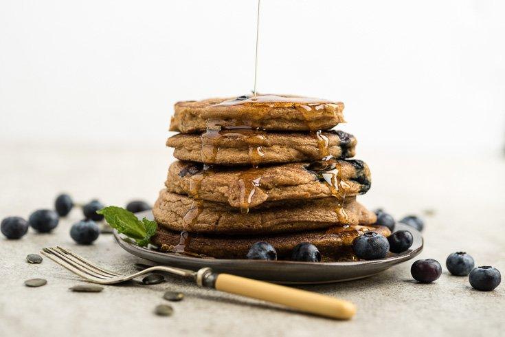 Pumpkin Blueberry Pancakes via Dr. Axe