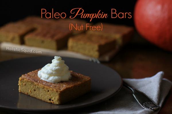 Paleo Pumpkin Bars via Holistic Squid