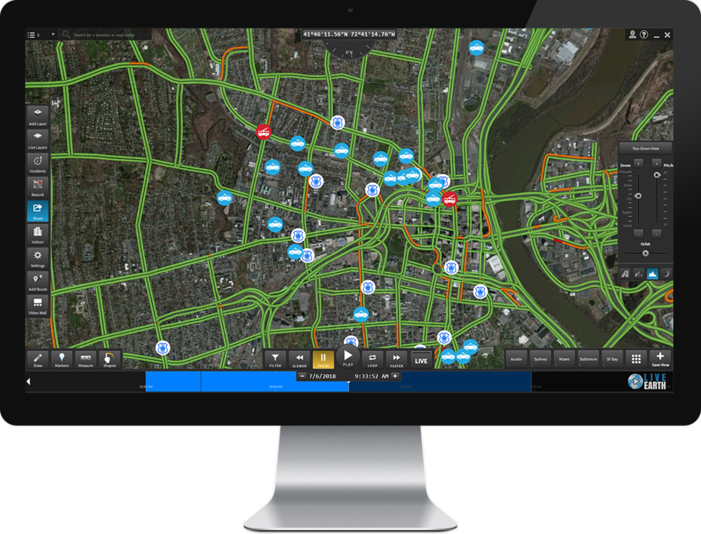 Be the first to know of threats and risks to police vehicles,fire trucks, public transportation and traffic incidents,all on a single screen.