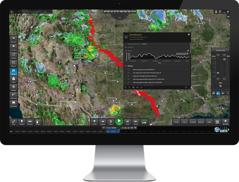 Predict weather and traffic conditions that may affect your fleet with Live Earth routing, hyper-local forecast prediction and traffic prediction tools.