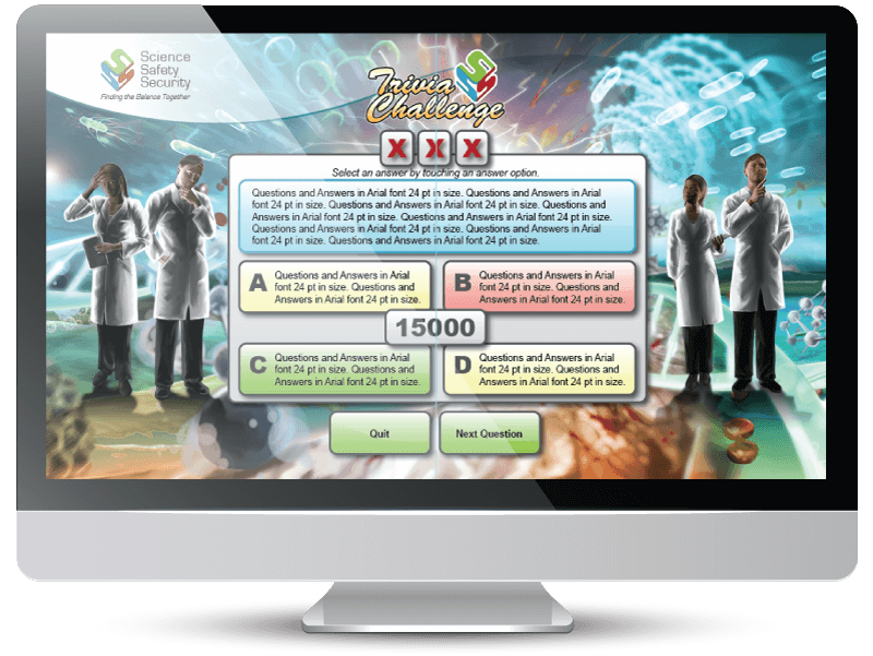 Interactive trivia product used at exhibition booth