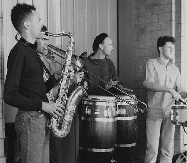 Busking at the Queen Vic Market in 1988 before we had a tuba.  #notuba #queenvictoriamarket #busking #trombone #saxophone #congas #drums #liveband #melbournelife #oxocubans #80s #music