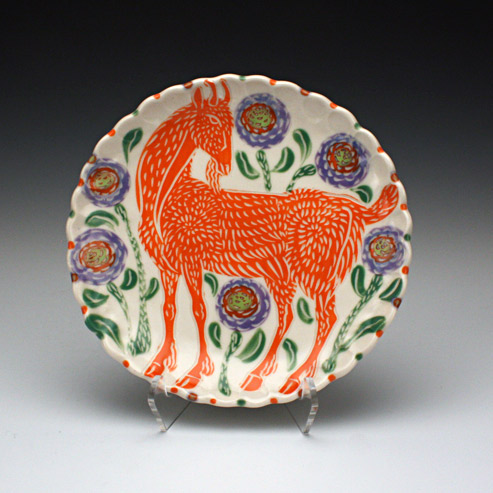 Sue Tirrell - dessert plate with a goat