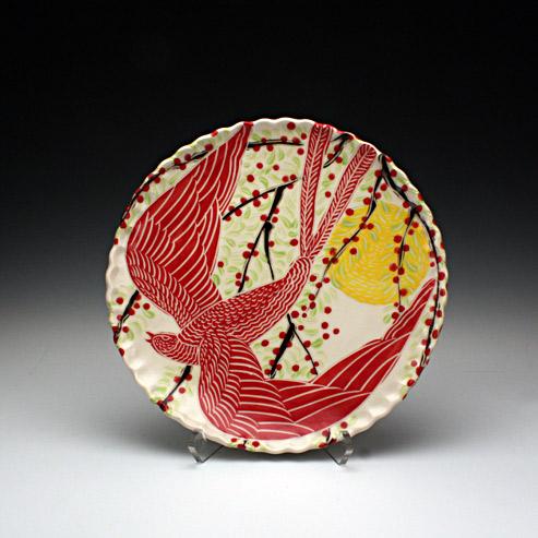 Sue Tirrell - dinner plate with a bird
