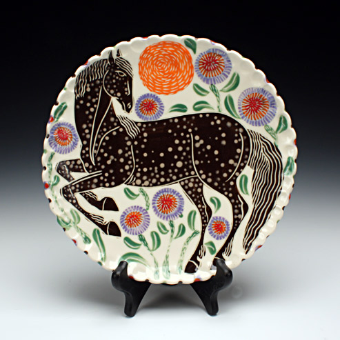Sue Tirrell - dinner plate with a horse