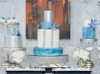 The Knot and Luxurious Events planned a 'Bright Lights, Big City' party with tons of fresh blue and gray details worth stealing for your modern wedding   https://www.theknot.com