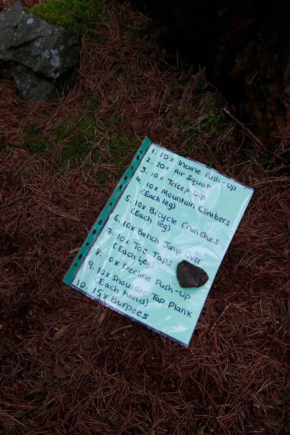 Exercises for the Tribe in between a trail running loop completed each time they finish an exercise!
