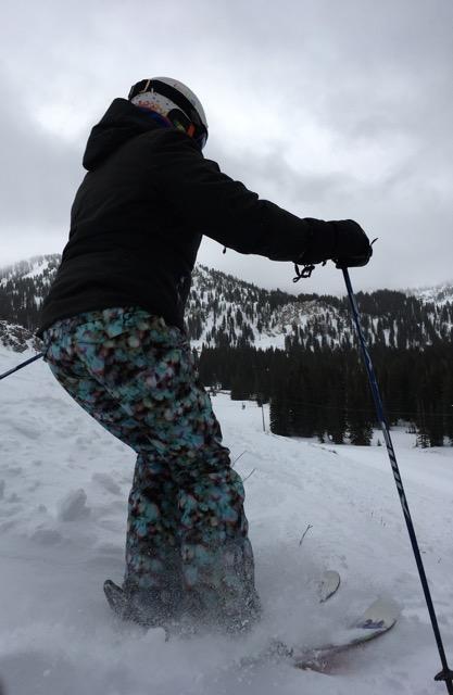 Sarah smashing the turns in the Alta powder in Utah, America.