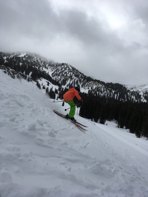Anna Hinks getting wild on the skis!