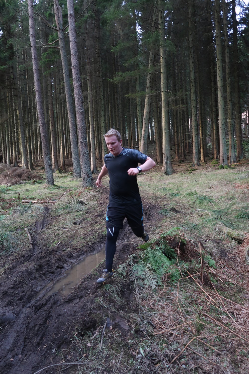 Anders running the marked out trail at a right speed!