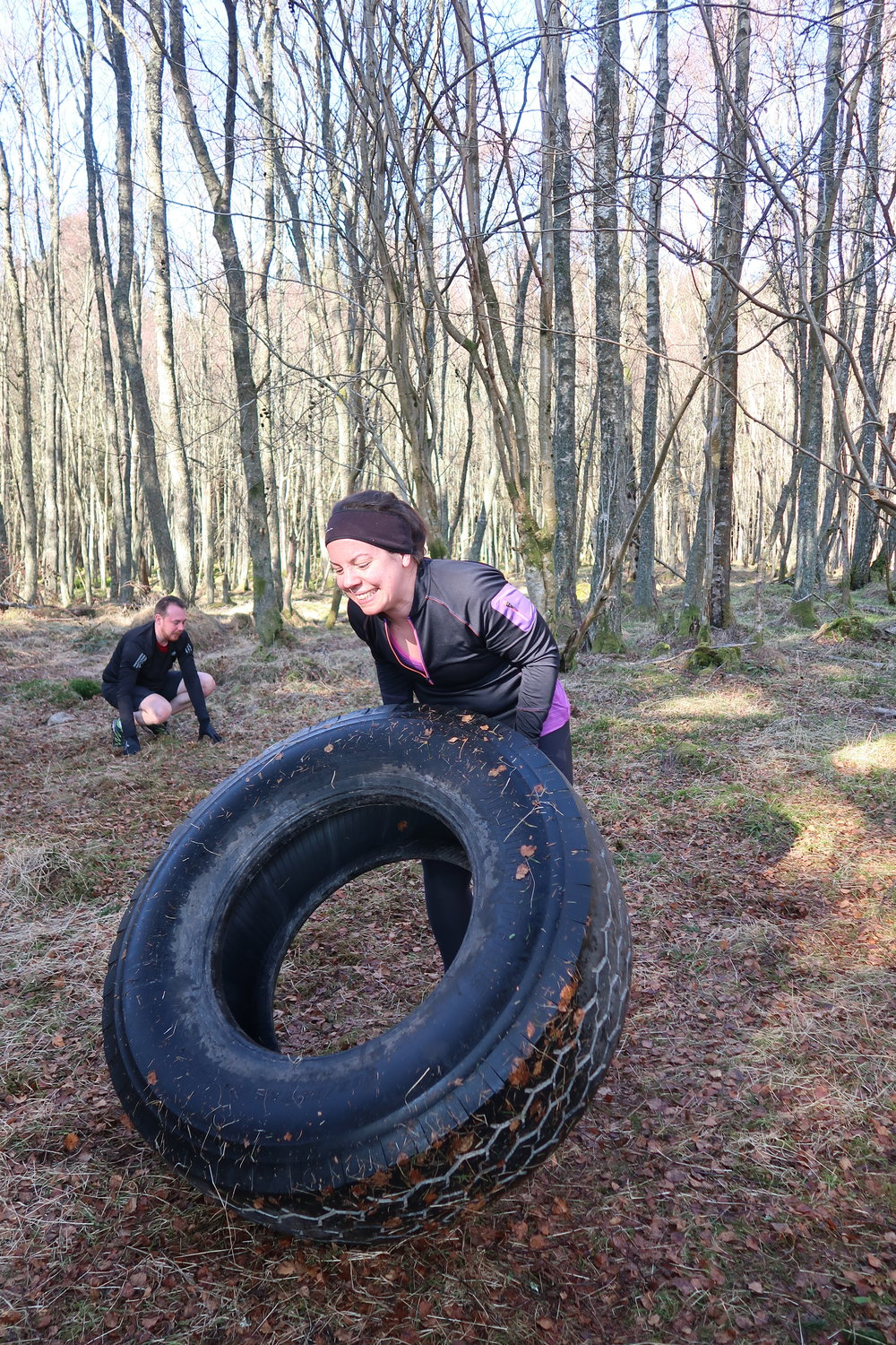 Catherine worked her way up to the BIG tyre! Go Girl!