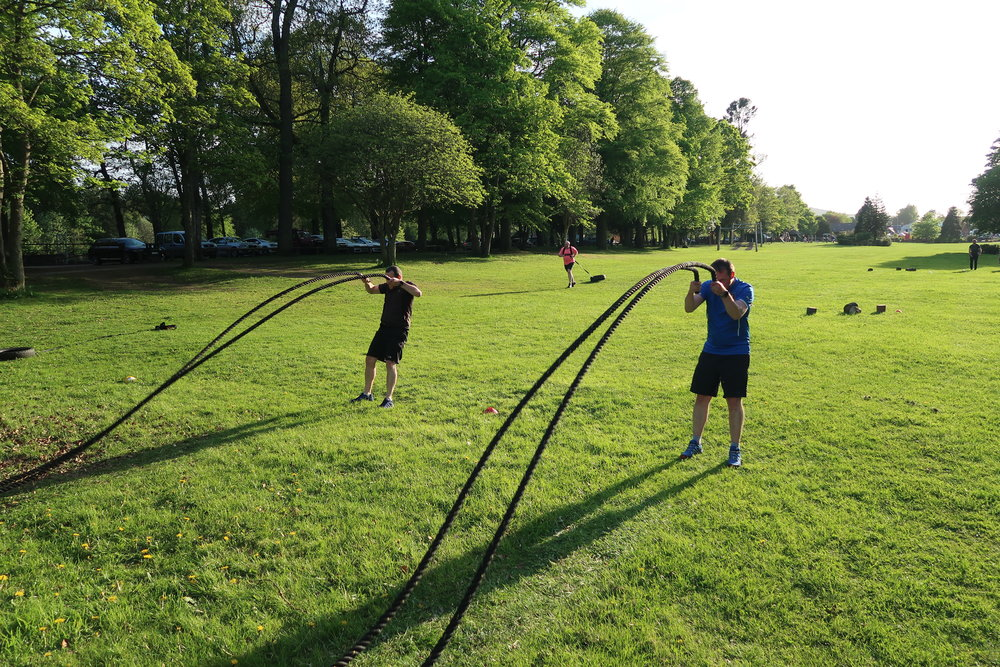 Battleropes and tyre drags in Banchory Bellfield park last week!