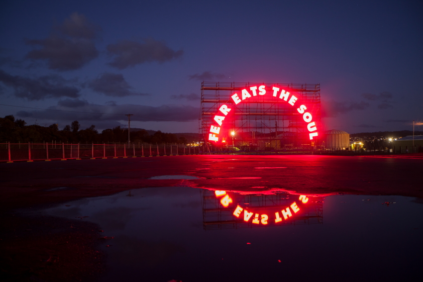 Fear Eats the Soul,   2016, Michaela Gleave. LED signage, custom computer program, irrigation misters, scaffolding  20m x 11m x 3m, 5 minute 'electrical glitch' loop.  Commissioned by the 2016 Dark Mofo festival, Tasmania. Photographs: 1 Rémi Chauvin, 2-5 Lucy Parakhina.