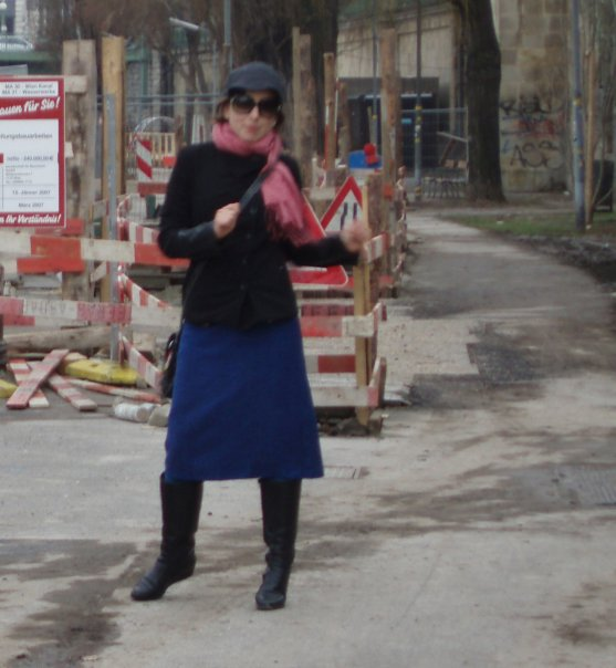 Dancing on the Donau Kanal, aka serious art student in Vienna, c2007.