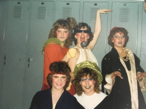 1982:  Senior year. Debunk my librarian image. (Hint: I'm the one with the mic.)