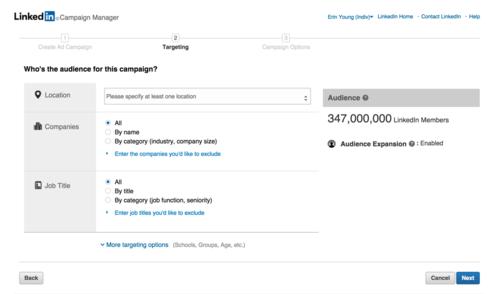 LinkedIn's ad-builder platform