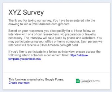 An example survey confirmation page in Google Forms directing the user to YouCanBook.me.