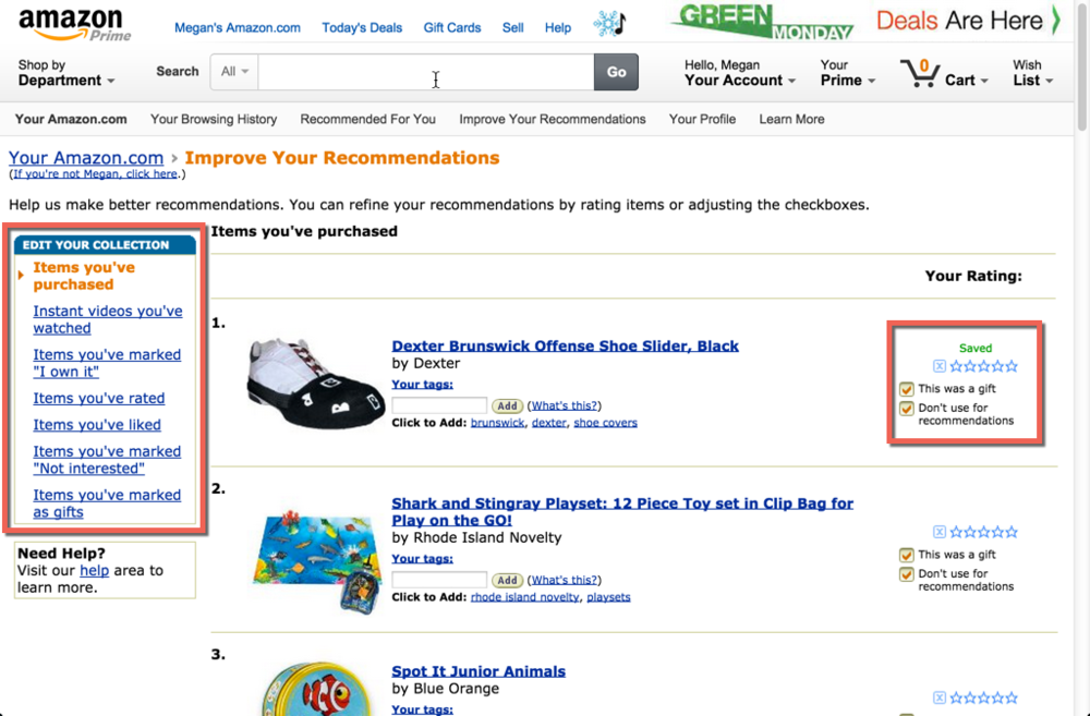 """Improve Your Recommendations is a secondary way to customize one's product recommendations based on recent purchases.  Like the Fix It control, these explicit corrections update the product recommendations found in the Recommended for You section, providing the user with more relevant suggestions.  Why is personalization so important?  A year ago, consumers were already beginning to expect sites to personalize their experience. 73% of online consumers that participated in  Janrain's study  cited frustration """"with websites when content, offers, ads, promotions, etc. appear that have nothing to do with their interests"""". Despite consumers' obvious demands for personalization, an astounding """"77% of marketers indicated that real-time personalization is highly important to their organization, but that there are obstacles they need to overcome in order to gain all the benefits of these campaigns"""". The data shows that it's high time to deliver an experience consumers not just want but expect.  Personalized homepages, content suggestions, and product recommendations not only can make your users feel that you understand their needs, but it significantly improves the user experience by quickly getting people exactly what they want or need. The main things to keep in mind when implementing personalized recommendations are to:  let your users know why a product is being recommended and/or why content is being suggested;  provide your users with the ability to modify implicitly acquired settings; and,  help your users help you by providing the means for them to provide feedback on recommendations so that you can better refine suggestions for them.  Amazon's combination of implicit collection and explicit correction are interesting examples of making personalization effortless while ensuring that the user still has control. While Amazon is only one example that has successfully bridged the gap between implicit and explicit settings, applying these three principles are a great step"""