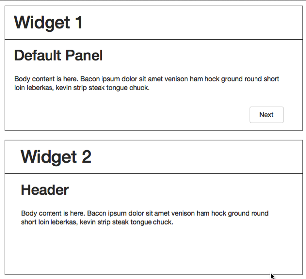 This image shows the widgets stacked on the page.