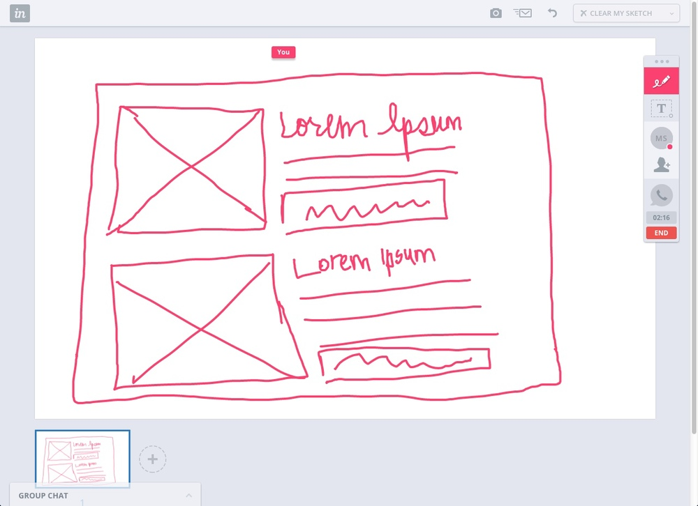 InVision's Whiteboard feature allows us digitally sketch out and easily communicate design decisions.